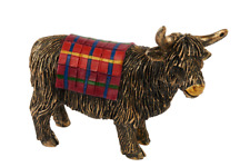 Richard Lang & Son Ltd Miniature Bronze Tartan Highland Cow Figurine 7sc110