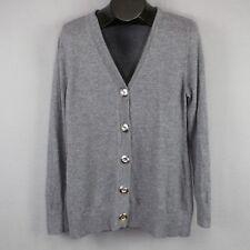 Lady Hathaway Cardigan Sweater XL Gray Womens Merino Wool Button Front