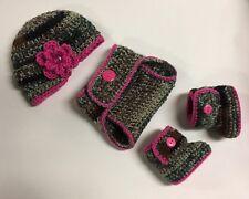Newborn Baby Girl Crochet Camouflage Hunting Hat Diaper Cover Booties Photo Prop
