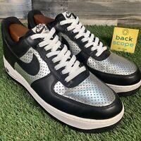 UK9 Nike Air Force 1 07 Premium Metallic Silver / Black - Rare 2009 Low Trainers