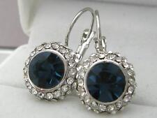 Ladies 14ct 9ct White Gold GF Round Blue Sapphire  Hoop Huggies Earrings New