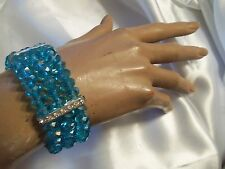 SKY BLUE Aurora Borealis Crystal Silvertone/Rhinestone Stretch Bracelet LA2B122