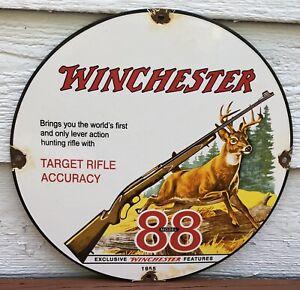 VINTAGE 1955 DATED WINCHESTER MODEL 88 PORCELAIN AMMO SIGN RIFLE GUN