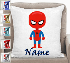 Personalised Spider man Magic Sequin Mermaid Cushion Cover Blue,Red,Silver,Gold