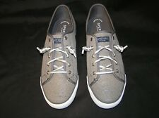 SPERRY TOP-SIDER SNEAKERS DECK BOAT SHOES GRAY SILVER LACES WOMENS 11
