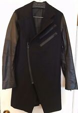 men's small Dohn Hahn wool and leather jacket black coat suit