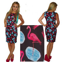 BLACK BODYCON WIGGLE PINK FLAMINGO DRESS / TOP SIZE 8 - 14 ALTERNATIVE GOTH