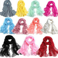 Women's Chiffon Solid Shawl Wrap Scarves Long Wraps Shawl Beach Silk Scarf