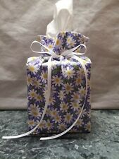 Daisies Flowers on purple lilac cotton Fabric square Tissue Box Cover / handmade