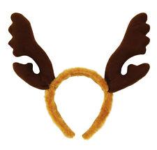 Brown Furry Reindeer Antlers Stag Horns Night Rudolph Fancy Dress Christmas