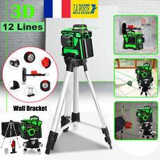 360° 12 lignes 3D Laser Niveau Rotatif Croix Support Mural Trépied Mesure Kit