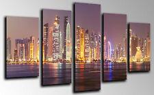 Cuadro Moderno Fotografico base madera,145x62,Ciudad de noche,Rascacielos Luces
