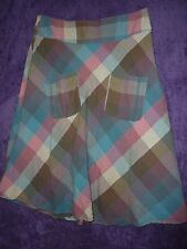 SEASALT TABLECLOTH  SIZE 8 28w LINED  CHECK COTTON SKIRT