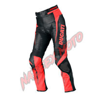Ducati Motorbike MotoGp Cow Leather Racing Biker Riding Pants Trouser Black Red