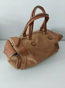 Zara Brown Genuine Suede and Leather Duffel Barrel Style Bag