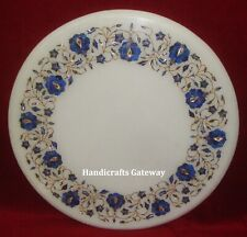 Marble Inlay Coffee Table Top For Restaurant, Marble Flower Art Round Table Tops