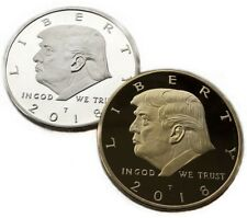 2 Pcs Donald Trump Silver Gold Plated Commemorative coin Collectibles Collection