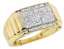 10K Yellow Gold Mens Square Step Shank Real Diamond Wedding Ring Band .40ct 11MM