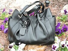 Lg Black Cowhide Leather Bag w/ Silver Hardware & Adjustable Straps