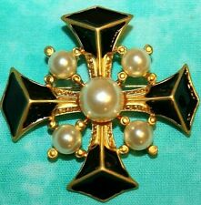 Stunning Maltese Black Enamel And Faux Pearl Pin/Pendant Unsigned - 2 1/16 Inch