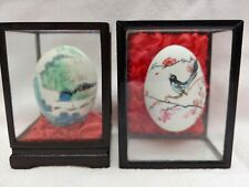 Vintage Hand Painted Real Eggs in Display Boxes Set of 2