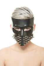 Exotic Black Leather Trim Stud Mask Masquerade MardiGras Face Mask