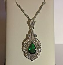 PE Vintage Deco Style Green Emerald Sim Diamond White Gold Pendant Chain Plum UK