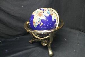 "13"" Tall Semi Precious Gemstone Globe W/ Brass Stand & Built In Compass -A15"