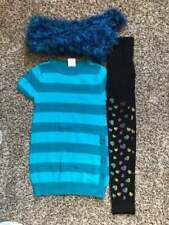 Girl's Size 10/12 3 Pc Blue Teal/ Striped Sweater Dress, Heart Leggings, Scarf