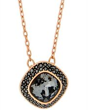 SWAROVSKI - Lattitude 18k Rose Gold-Plated Black Swarovski Crystal Necklace NIB