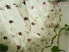 French Country Cottage Floral Embroidered Sheer Net Kitchen Cafe Curtain Tier