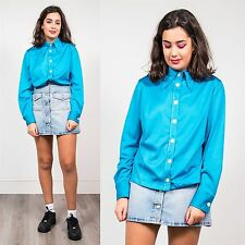 WOMENS VINTAGE BLUE POINTY COLLAR 70'S BLOUSE SHIRT PLAIN POLYESTER MOD 14 16