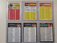 6x 1969 1970 1971 unmarked Checklist card lot all in excellent condition