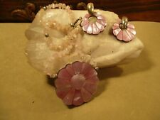 Lee Sands, Mother of Pearl Mosaic, Lilac-Colored Flower Necklace & Earring Set