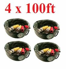 4 lot 100ft Black Hd Security Camera Video Power Cable Bnc Rca Wire for Dvr Cctv