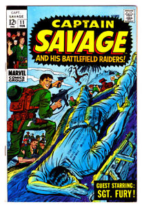 CAPTAIN SAVAGE And Battlefield Raiders #11 in VF Marvel 1968 Army Comic SGT FURY