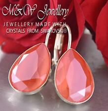 925 SILVER EARRINGS PEAR FANCY STONE LIGHT CORAL 14MM CRYSTALS FROM SWAROVSKI®