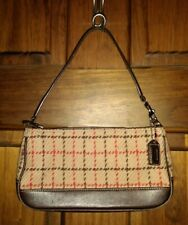 Coach Wool and Leather Hampton Tweed Vintage Small Handbag 7535