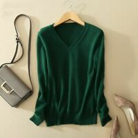 Slim V Neck Sweater Women Autumn Cashmere Wool Knit Solid Pullovers Coat Blouse