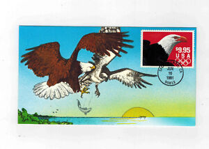 #2541 HAND PAINTED SOARING EAGLE FDC 1991