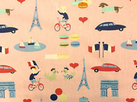 FT134 Paris France Retro French Tourist Eiffel Tower Bicycle Cotton Quilt Fabric