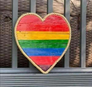 Handmade Pallet Wooden Rainbow Heart