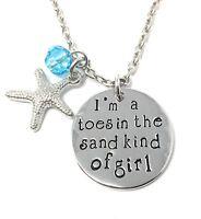 Ich Bin Ein Zehen Im Das Sand Nett Von Mädchen Urlaub Strand Halskette 925