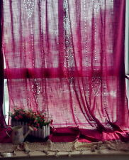 Tab Top Red Hand Hollow Out Crochet Cotton Linen Curtain F013