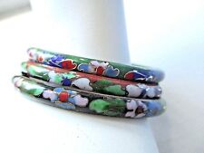 3 Vintage Cloisonne Bangle Bracelets HINGED EUC