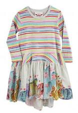 NWT Paper Wings Girl Cactus Border Frilled Tee Dress Rainbow Stripe Tween 12