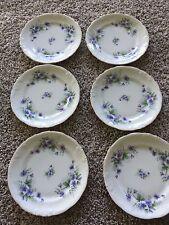 W poland monte cristo collection china lavender and white 6 bread plates