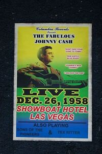 Johnny Cash Poster 1958 Showboat Hotel Las Vegas