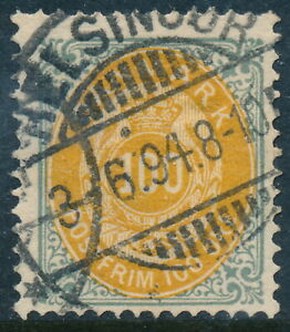 Denmark Scott 34/AFA 31, 100ø gray/yellow Bicolour, F Used