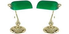 2 x Eglo 90967 Bankers Lights Traditional Table Lamps Brass Finish (Green)
